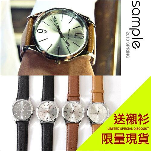 sample:現貨【Sample】韓國品牌簡約風夜光指針八角框質感手錶【SA4209】-MELVERC★送襯衫