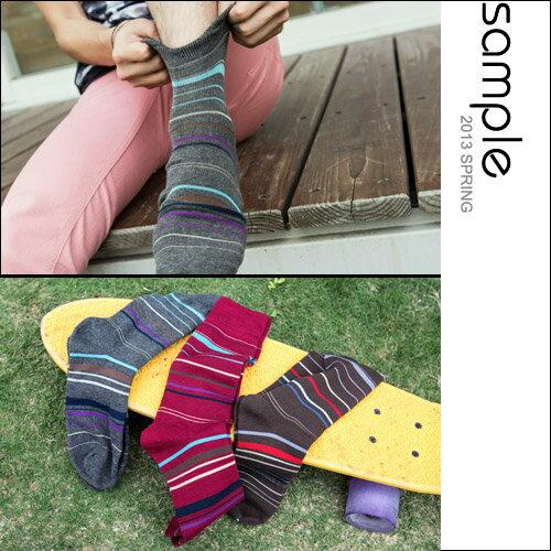 sample:長襪【Sample】韓國製,今夏新色幻彩細橫紋中筒襪-共3色【SA4402】
