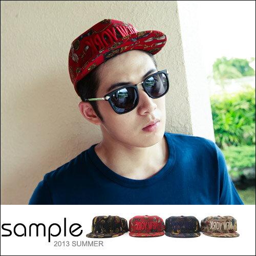 現貨 棒球帽【Sample】韓國製,立體反印刺繡New York華麗棒球帽【SA5101】