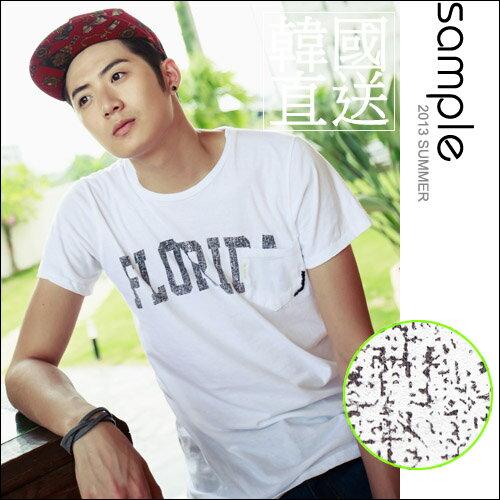 韓製短T~S le~韓國製,爆裂紋字母口袋短袖T恤~SA5103~