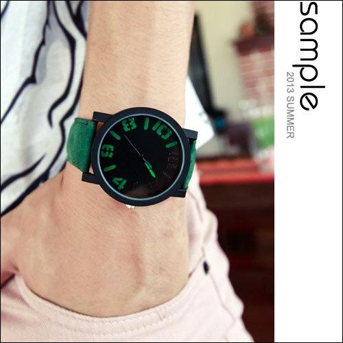 手錶~S le~韓國空運,極簡約隱藏數字絨面手錶~黑底系列~SA5121~