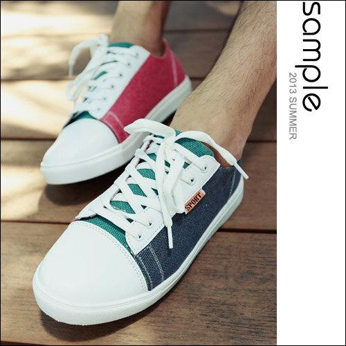 sample:帆布鞋【Sample】配色休閒綁帶帆布鞋【SA5420】