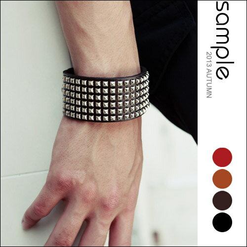 sample:真皮手環【Sample】韓國空運,限量龐克風寬版鉚釘真皮手環【SA5628】
