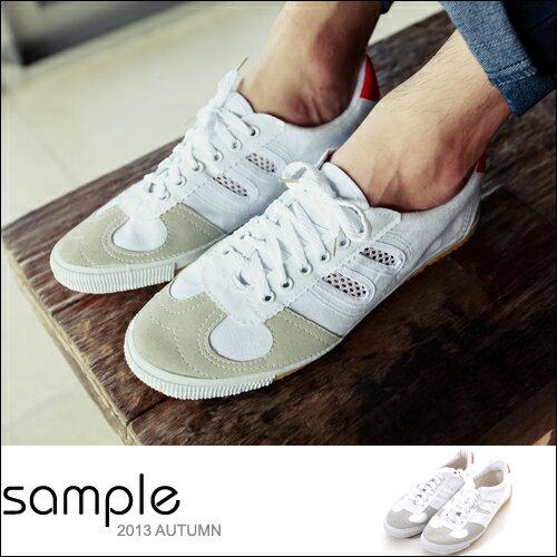 現貨 球鞋【Sample】麂皮網狀帆布綜合面復古球鞋/網球鞋【SA6017】