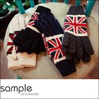 保暖配件推薦手套【Sample】韓國製,加絨加厚英國旗保暖手套【SA6505】-共4色