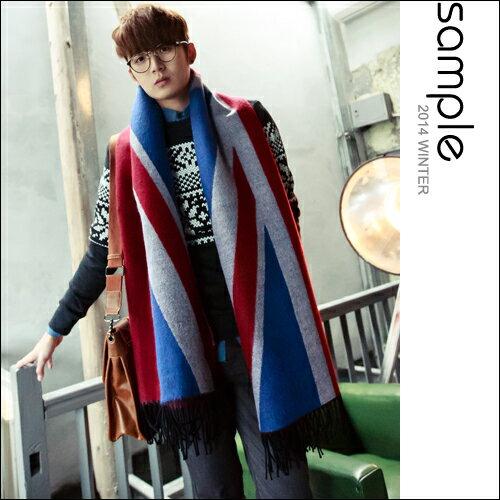 圍巾【S le】韓國空運,高等級寬版加厚國旗圖樣流蘇圍巾【SA6830】