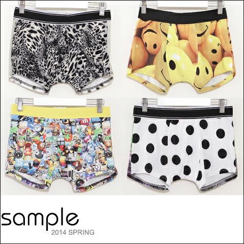 sample:四角褲【Sample】韓國製,彈性萊卡印花瓶口合身四角褲【SA7401】-Menisgood