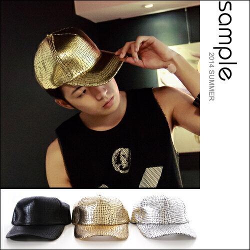 現貨 燙金 棒球帽【Sample】韓國製,爆裂紋全燙金銀飛炫棒球帽【SA8111】