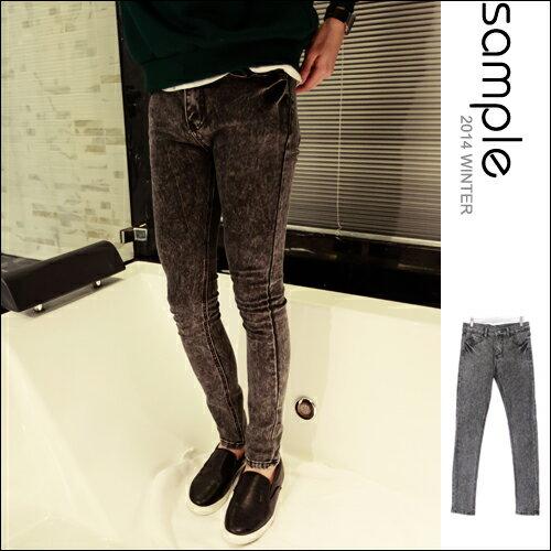 牛仔褲【SA10631】雪花水洗窄版 彈性SKINNY牛仔褲【Sample】