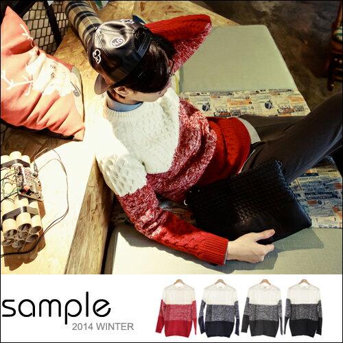 現貨 毛衣【SA10915】韓國製 漸層色 高磅 三色塊麻花毛衣【Sample】-共4色