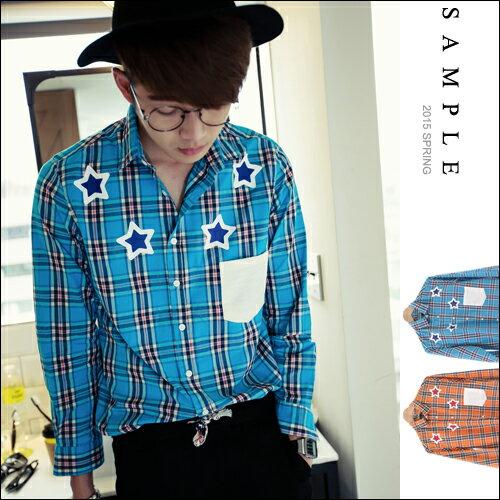 長袖襯衫【SA11207】韓國製春夏款四星格紋白口袋長袖襯衫 【Sample】-PMA
