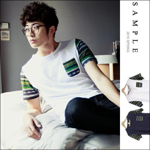現貨 短T【SA11925】台灣設計款 民族風口袋接袖短袖T恤【Sample】