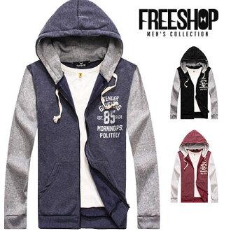Free Shop【QMD10566】美式休閒數字85斑駁文字造型接色保暖刷毛抽繩連帽外套 三色 MIT台灣製