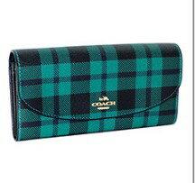 【Coach】長夾禮盒組 長夾+皮革鑰匙圈-綠格紋摺疊款 -艾莉波波