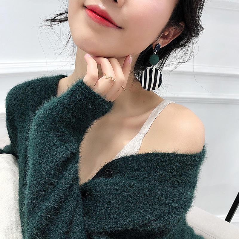 2019年復古設計感耳環女氣質韓國個性2018新款潮耳釘耳飾網紅耳墜1入