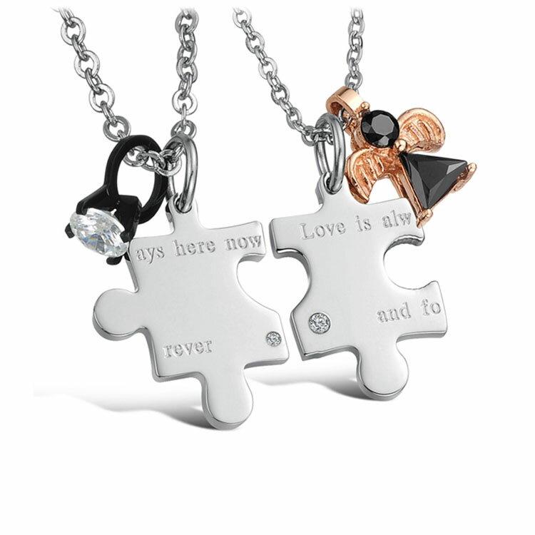 【5折超值價】 情人節禮物最新款日韓風格時尚精美愛情拼圖鑲鑽造型情侶款鈦鋼項鍊