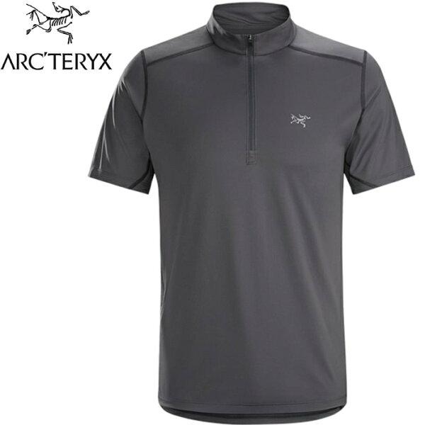 Arcteryx始祖鳥登山排汗衣半門襟短袖排汗透氣登山健行20968AcceleroCompzip男款機長灰