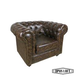 ★熱銷★復古LOFT工業風 鉚釘 經典款 軟皮 單人沙發 皮革沙發 深褐色沙發