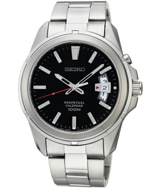Seiko 6A32-00W0D萬年曆簡約腕錶/黑面40mm