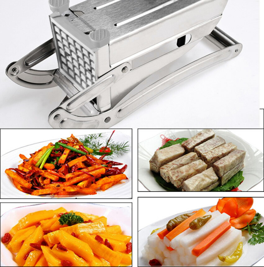 Stainless Steel French Fry Cutter Maker Potato Chipper Silver 1