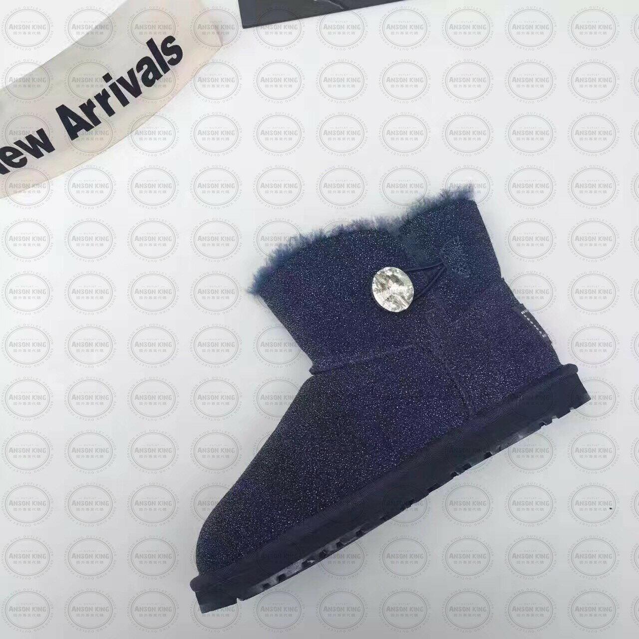 OUTLET正品代購 澳洲 UGG 明星同款水晶扣短靴 保暖 真皮羊皮毛 雪靴 短靴 藍色 3