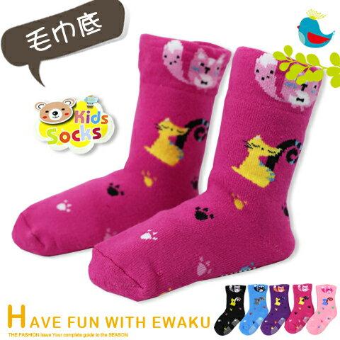 保暖毛巾底 寬口止滑寶寶襪 圓貓瘦貓款 台灣製 PO-SHIH 亨利達