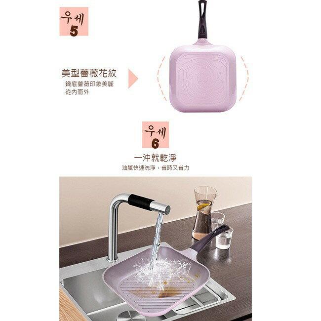 韓國 Chef Topf 薔薇系列28公分不沾方型煎鍋/韓國製造/不沾鍋/洗碗機用/最美鍋/方鍋 7