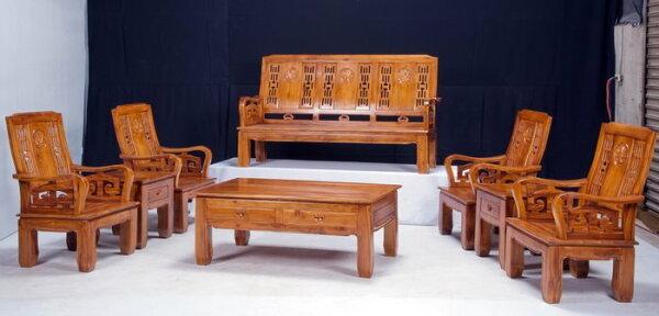 【石川家居】KL-01柚木八件式牡丹花組椅台中以北搭配車趟免運費