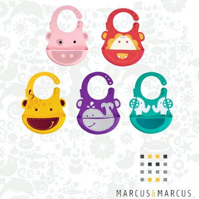 【悅兒樂婦幼用品舘】Marcus & Marcus 動物樂園矽膠立體圍兜-大象/小豬/鯨魚/獅子/長頸鹿