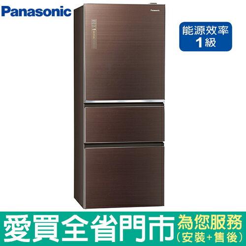 Panasonic國際500L三門玻璃冰箱NR-C509NHGS-T(翡翠棕)含配送到府+標準安裝【愛買】