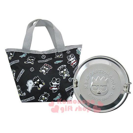 〔小禮堂〕酷企鵝 不鏽鋼便當盒附提袋《黑.多動作滿版.XO-8135》可以蒸.台灣製
