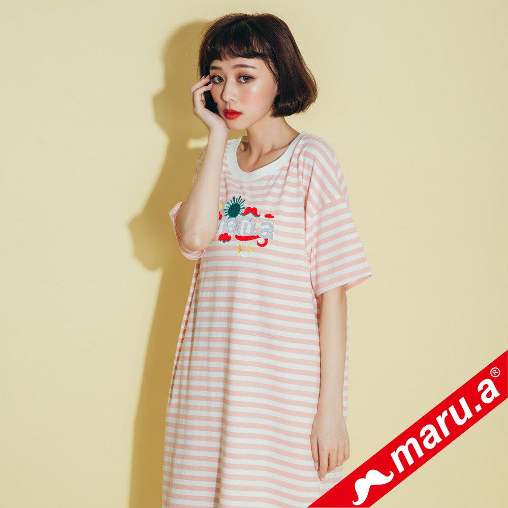 【maru.a】條紋長版蕾絲兩件式洋裝(2色)8317112 0