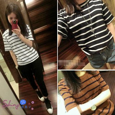 【V9223】shiny藍格子-夏日玩色.時尚百搭修身三色棉質條紋短袖女T恤