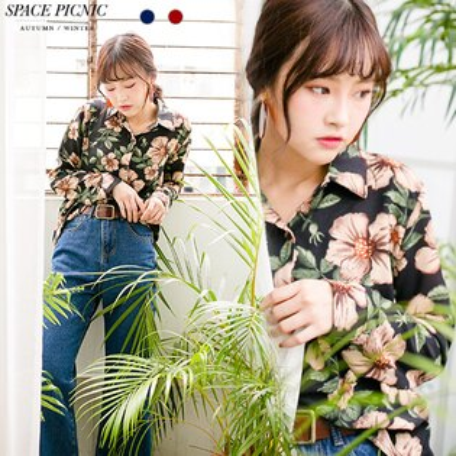 Space Picnic:襯衫SpacePicnic|現貨.立體感滿版花朵設計長袖襯衫【C17091034】
