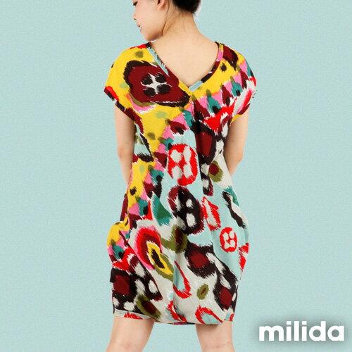 【Milida,全店七折免運】-夏季商品-拼貼款-氣質花苞版型洋裝 5