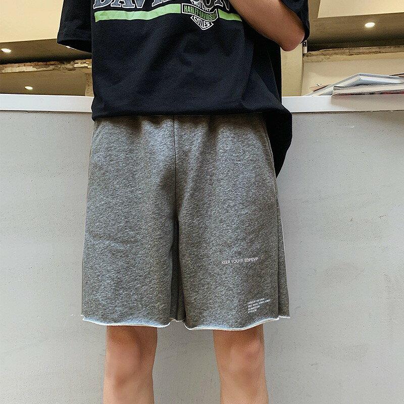 Champion 冠軍個人賣場 港風直筒毛邊寬鬆休閒褲夏季潮牌五分褲子男生短褲潮薄款百搭衛褲