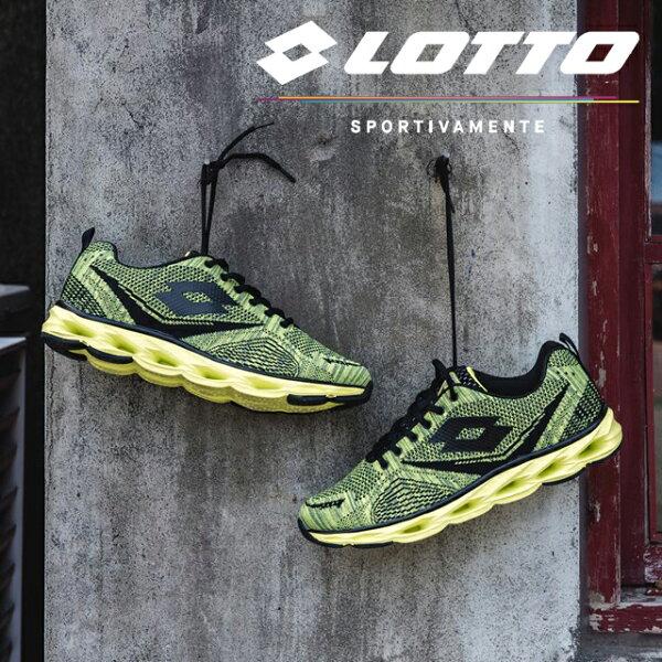 【巷子屋】義大利第一品牌-LOTTO樂得男款編織第二代風動PLUS運動慢跑鞋[6285]黑綠超值價$1112免運