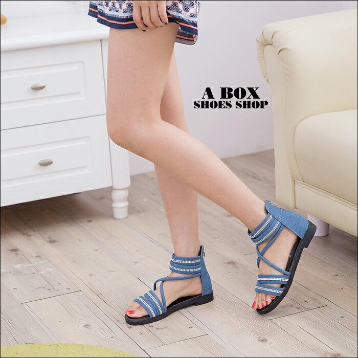格子舖*【AS618-3】個性牛仔帆布 閃耀排列水鑽 後拉鍊穿拖 低跟羅馬涼鞋 羅馬鞋 2色 1