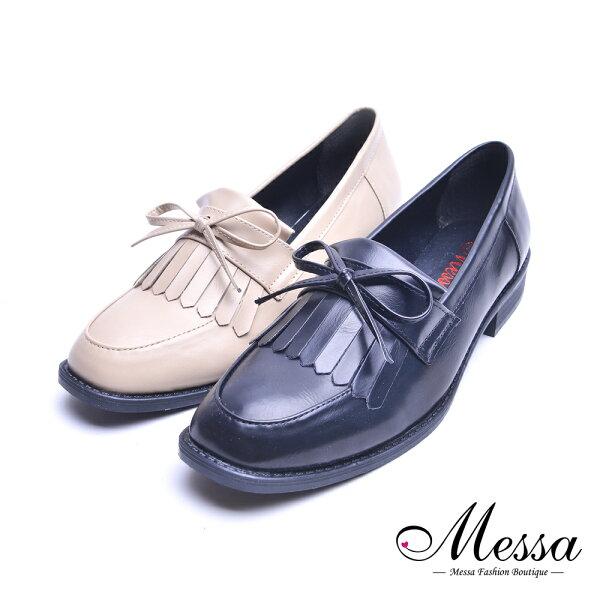 【Messa米莎專櫃女鞋】MIT甜美流蘇假綁帶低跟包鞋-兩色