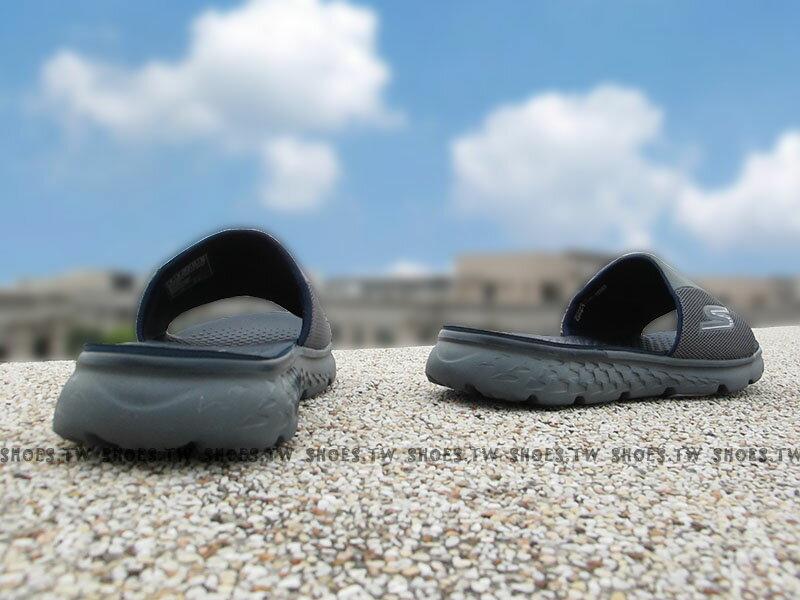 Shoestw【54260CCNV】SKECHERS 拖鞋 ON THE GO 健走鞋 深灰藍 瑜珈鞋墊 男生尺寸