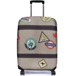 彈性行李箱套/出國旅遊/自助旅行/行李包膜/行李套 Bibelib法國設計品牌-世界足跡款-淺棕色