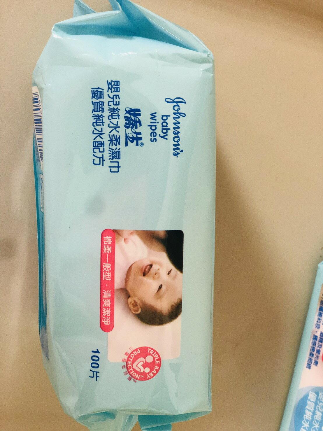 嬌生 濕紙巾 嬰兒純水柔濕巾 一般型 單包 100抽 擦拭 手臉共用 超取最多8包 2