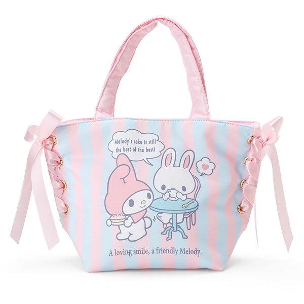 【真愛日本】18012300063手提水餃包利茲姆-條紋粉藍MM加ABU三麗鷗Melody美樂蒂手提包