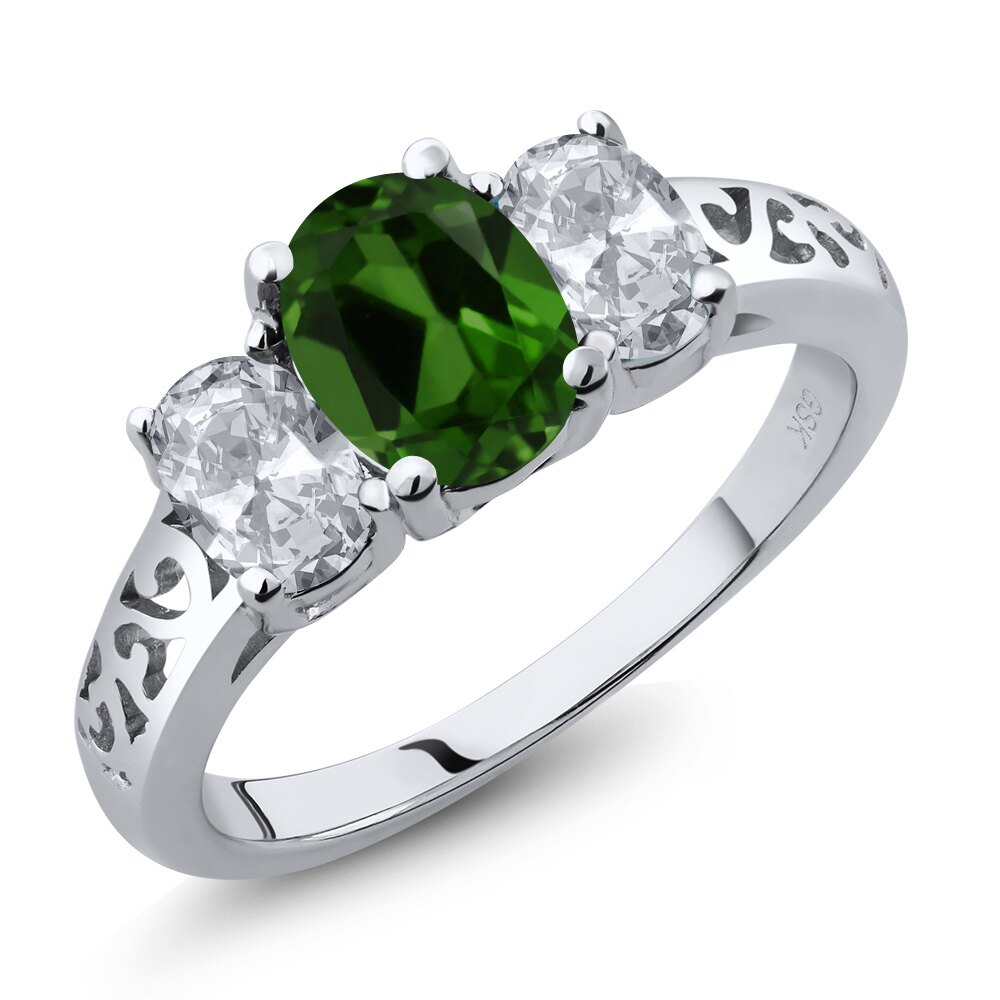 2.20 Ct Oval Green Chrome Diopside White Topaz 14K White Gold Ring 0