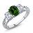 2.20 Ct Oval Green Chrome Diopside White Topaz 14K White Gold Ring 0