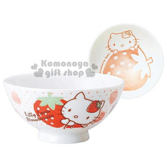 〔小禮堂〕Hello Kitty 日製陶瓷碗《白.點點.多草莓》日本金正陶瓷.草莓系列