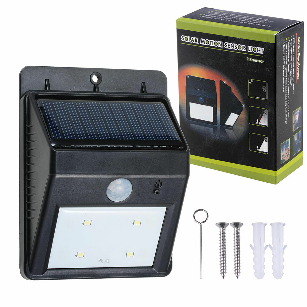 Yescomusa 1 Pack 4 Leds Solar Power Security Pir Motion Night Powered Garden Lamp With Light Sensor Waterproof Outdoor