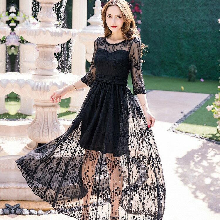 圓領網紗顯瘦長洋裝(2色)