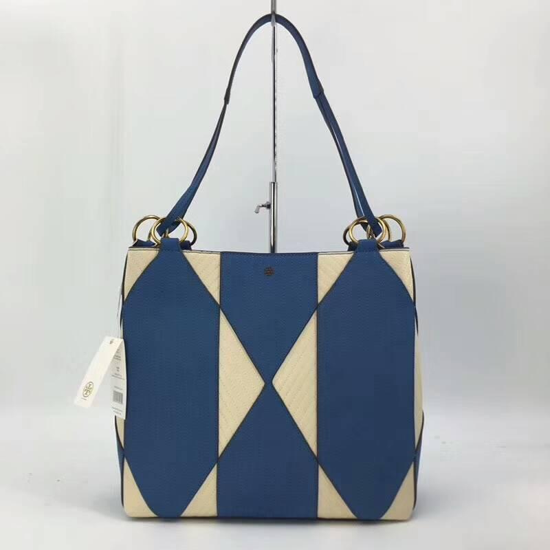 Outlet正品代購 Tory Burch TB 藍白拼接款托特包 手提包 肩背包 購物袋 外出包