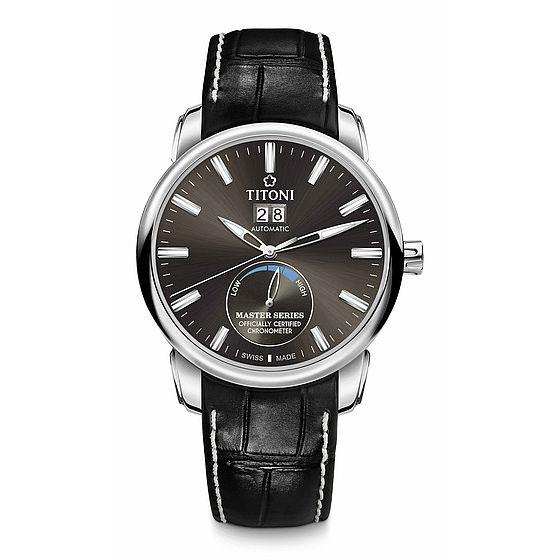 TITONI瑞士梅花錶大師系列94688S-ST-579全自動天文台機芯腕錶/黑41mm